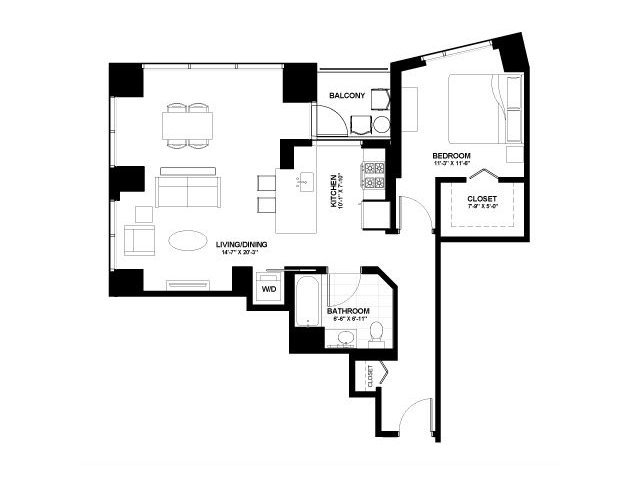Moment one bedroom floor plan