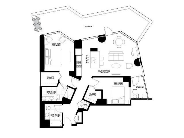 Moment two bedroom floor plan