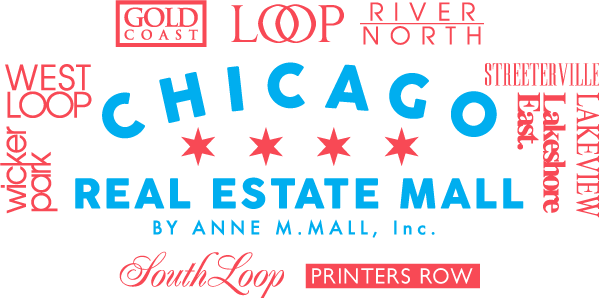Chicago Real Estate Mall Written in Blue Block Caps surrounded by the popular Neighborhoods around downtown in red in various Fonts.